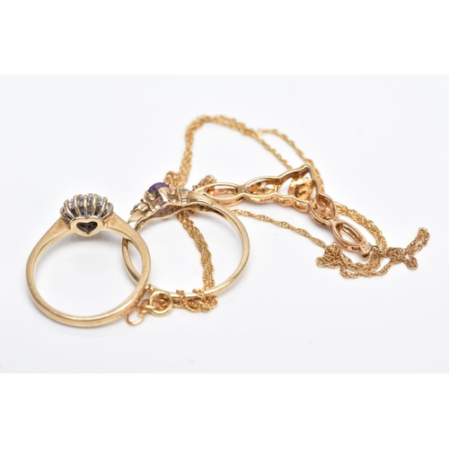 30 - THREE ITEMS OF JEWELLERY TO INCLUDE, a 9ct gold sapphire and diamond heart shaped cluster ring, a 9c...