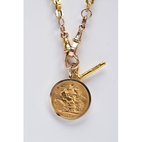 33 - A MOUNTED FULL SOVEREIGN PENDANT AND 9CT GOLD CHAIN, the full sovereign dated 1898, within a plain p...