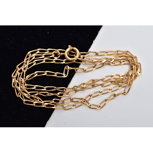 36 - A YELLOW METAL PORTUGUESE CURB LINK CHAIN, elongated links, fitted with a spring clasp, stamped with...