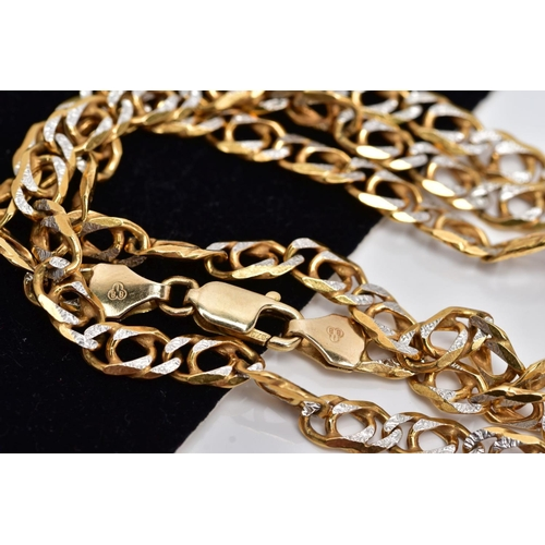 38 - A 9CT GOLD CHAIN, the two tone textured curb link chain, fitted with a lobster claw clasp, hallmarke...