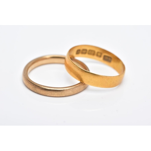 39 - TWO GOLD WEDDING BANDS, the first a 22ct gold wide band of a plain polished design, approximate widt...