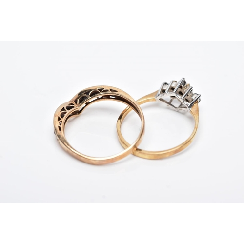 4 - TWO 9CT GOLD GEM SET RINGS, the first of a wishbone design set with a row of circular cut blue sapph...