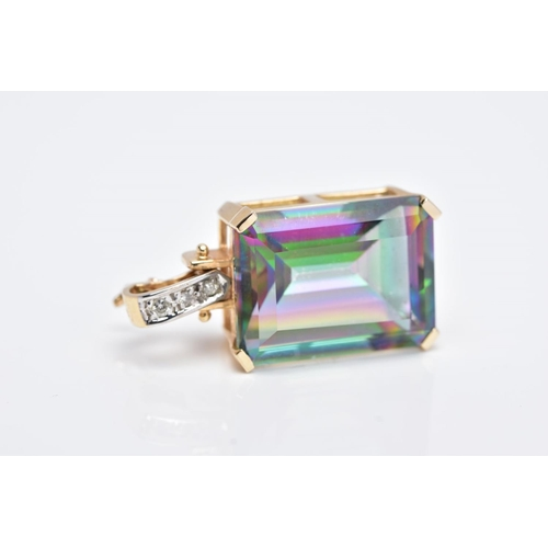 40 - A YELLOW METAL GEM SET PENDANT, of a rectangular form with a claw set emerald cut, mystic coated sto...