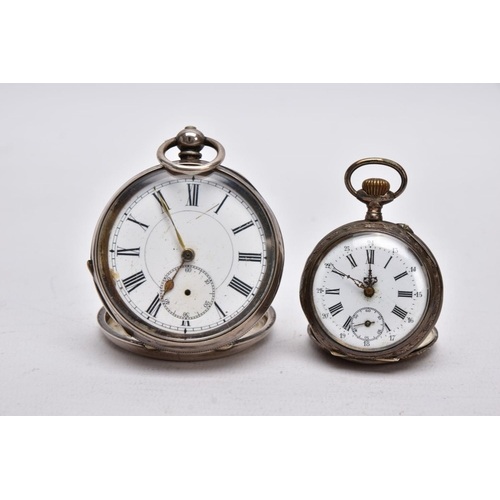 48 - TWO OPEN FACED POCKET WATCHES, the first with a round  white dial, Roman numerals, seconds subsidiar...