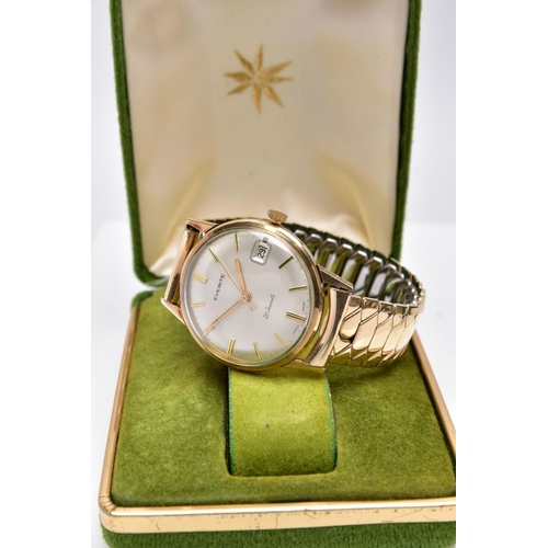 49 - A GENTS 9CT GOLD 'EVERITE' WRISTWATCH, hand wound, round silver dial signed 'Everite, 21 Jewels', ba...