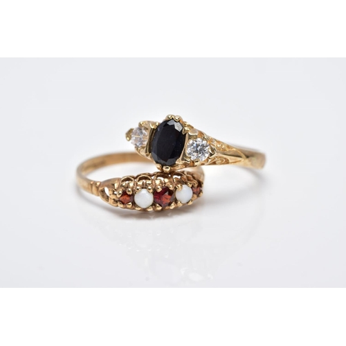 5 - TWO 9CT GOLD GEM SET RINGS, the first designed as a five stone ring set with three graduated circula...