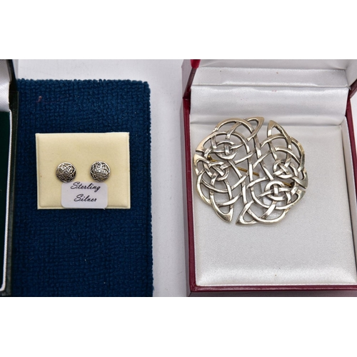 55 - A BOX OF ASSORTED WHITE METAL CELTIC JEWELLERY, to include four sets of 'Sterling Silver' stud earri...