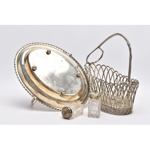 59 - A BOX OF WHITE METAL ITEMS, to include a white metal openwork basket of an oval form, an oval EPNS t...