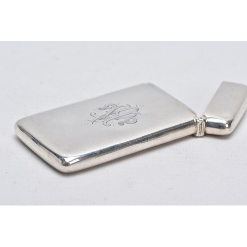 6 - A LATE VICTORIAN SILVER CARD CASE, of a rectangular form, plain polished design with an engraved mot...