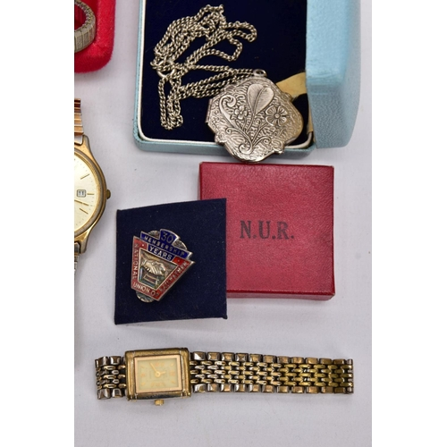 60 - A BOX OF ASSORTED ITEMS, to include a silver handled button hook with a steel hook hallmarked Birmin...