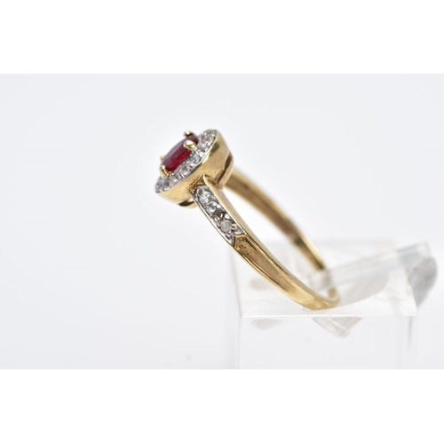 8 - A 9CT GOLD RUBY AND SPINEL CLUSTER RING, designed with a central oval cut ruby within a circular cut...