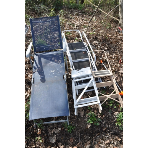 1004 - A SET OF WHITE ALUMINIUM STEP LADDERS height: 168cm, a smaller set of aluminium step ladders, small ...