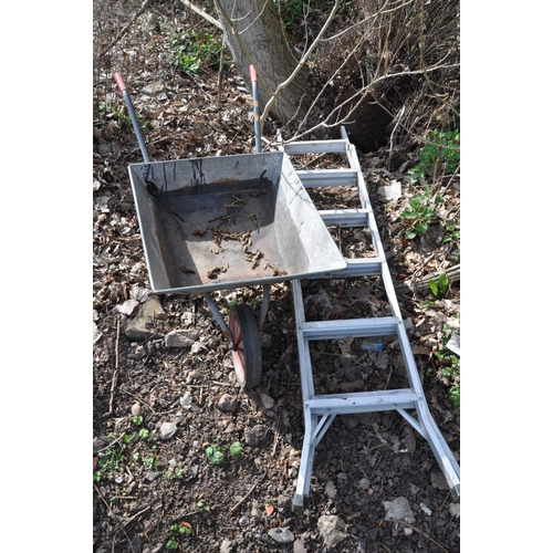 1005 - A GALVANSISED METAL WHEEL BARROW together with a set of aluminium step ladders, length 190cm (2)