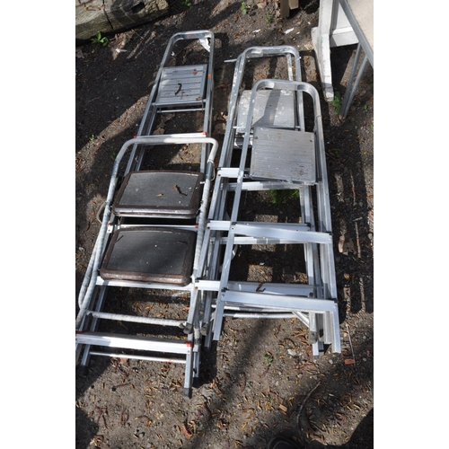 1013 - FOUR SETS OF ALUMINIUM LADDERS, the biggest at length 190cm together with another smaller set