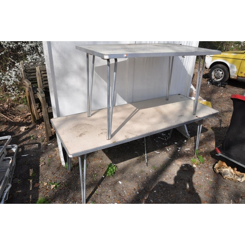 1014 - TWO FOLDING ALUMINIUM FRAMED TABLES with laminated tops, one at width 182cm, depth 69cm, height 68cm...