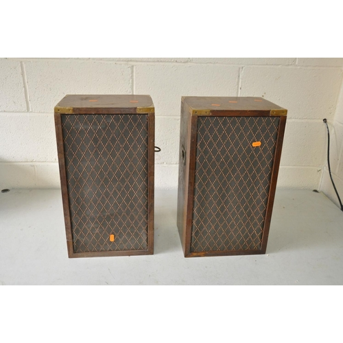1077 - A PAIR OF DYNATRON LS2928 HI FI SPEAKERS in mahogany cases with campaign handles and a Regency style...