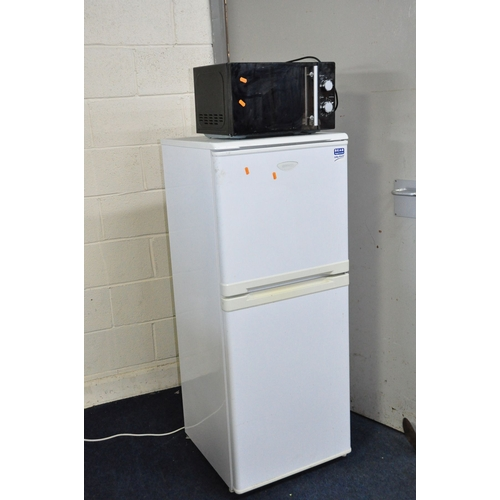 1050 - A BEKO FRIDGE FREEZER 55cm wide 136cm high (PAT pass and working at 5 and -18 degrees) and a Morriso...