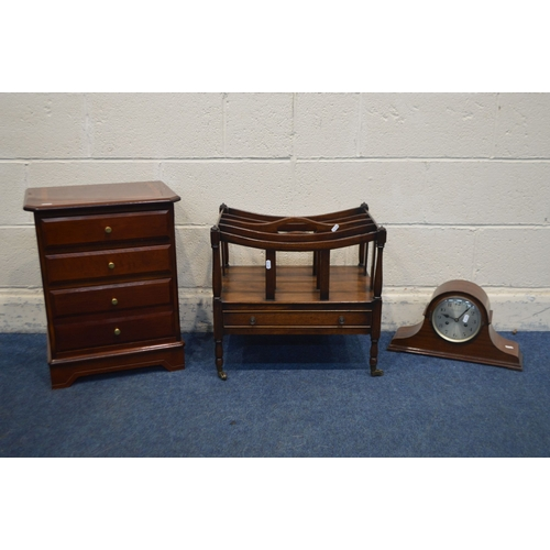 1053 - A MAHOGANY BEDSIDE CHEST OF THREE DRAWERS, width 43cm x depth 33cm, a mahogany canterbury with a sin...