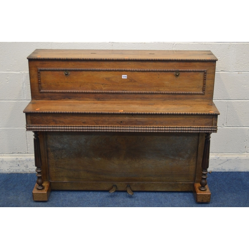 1056 - A REGENCY ROSEWOOD UPRIGHT PIANO, name indistinctly signed, of Paris, serial number 12102, with twin...