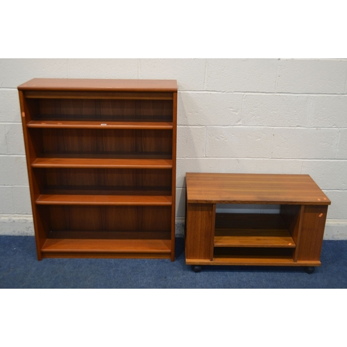 1058 - A BEAVER AND TAPLEY 33 TEAK MODULAR WALL SHELVING SYSTEM, comprising of a glazed single door display...