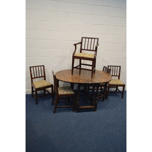1063 - A GEORGE II OVAL TOPPED GATE LEG TABLE, open length 140cm x closed length 52cm x depth 111cm x heigh...