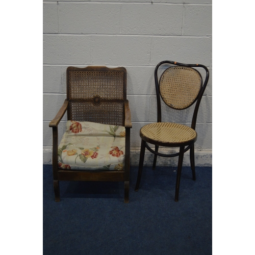 1064 - A BENTWOOD STAINED BEECH AND BERGERE CHAIR and a beech open armchair with a bergère back and removab...