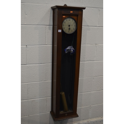 1070 - A GENT AND CO LTD, LEICESTER, MAHOGANY PULSYNETIC MASTER CLOCK, 6 1/2 inch silvered dial, height 134...