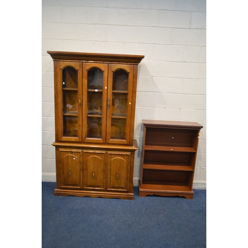 1071 - A HARDWOOD GLAZED DOUBLE DOOR BOOKCASE, width 120cm x depth 43cm x height 198cm and a cherrywood ope...