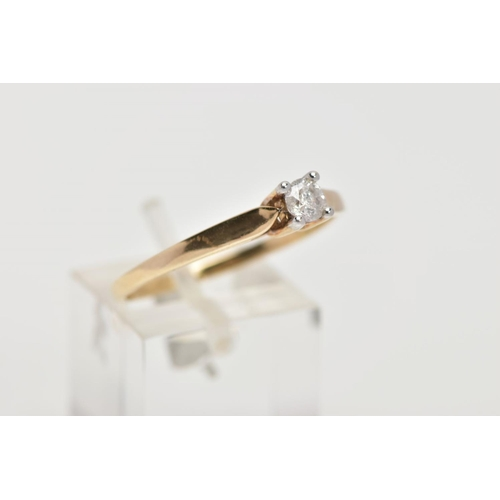36 - A 9CT GOLD SINGLE DIAMOND RING, designed with a four-claw set, round brilliant cut diamond, 0.25cts,...