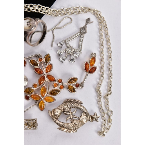 49 - A SELECTION OF SILVER AND WHITE METAL JEWELLERY, to include a silver and rose gold detailed shield f...