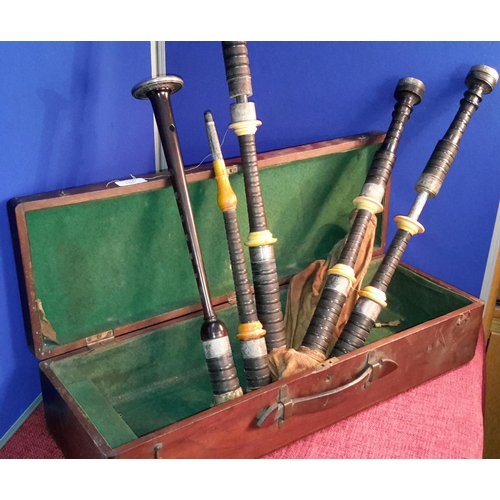 105 - P. Henderson Glasgow antique bagpipes, with Scottish silver thistle design hall marked collars, orig...