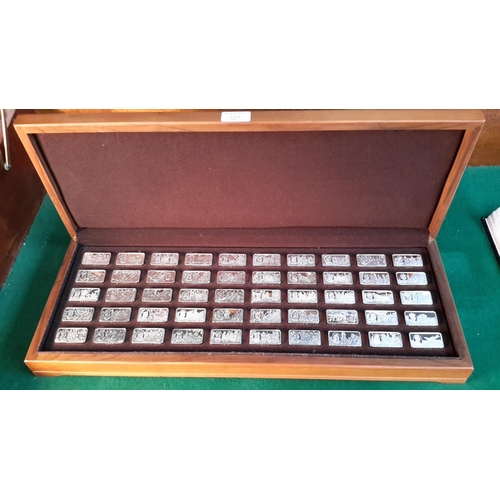 380 - A case of 50 silver ingots each weighing 66g '1000 years of British Monarchy sterling silver mint ed...