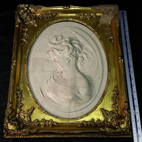 170 - Louis-Alexandre Bottee (1852-1941) large relief-carved marble plaque of lady, reverse with inserted ...