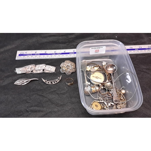 49 - Box of various silver jewellery & costume jewellery etc...