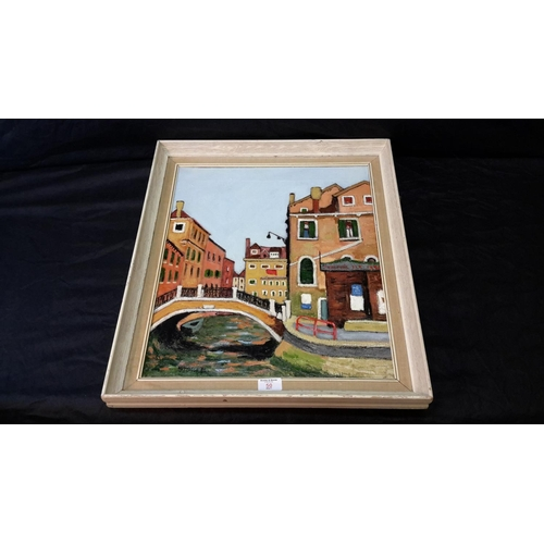 50 - A Venice scene oil painting in the style of Alberto Morrocco, signed & dated 81...