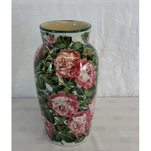 105 - A large Wemyss pottery vase with hand painted rose design by Karel Nekola dated around 1910. Signed ...