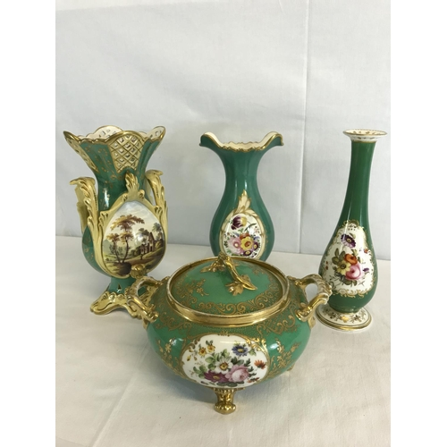 153 - 4 19th century Antique French ' Jacob Petit' Paris porcelain vases & 4 foot preserve dish with lid...