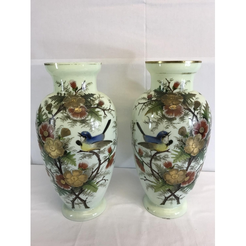 155 - A Large pair of Victorian panel hand painted vases depicting flowers & bird....