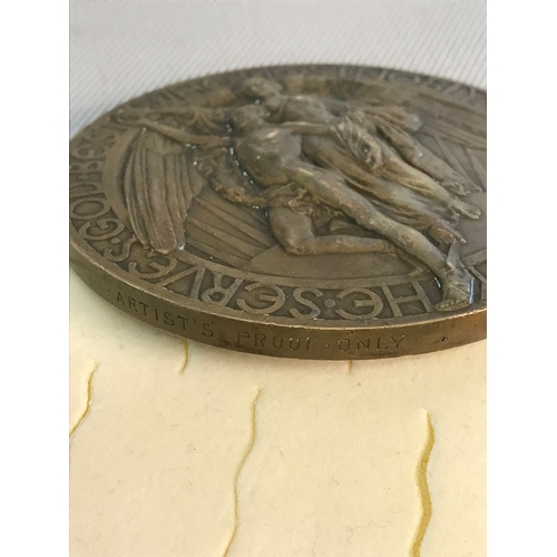58 - Rare Carnegie life saving medal done in bronze, by Richard Reginald Goulden (1876-1932) has written ...