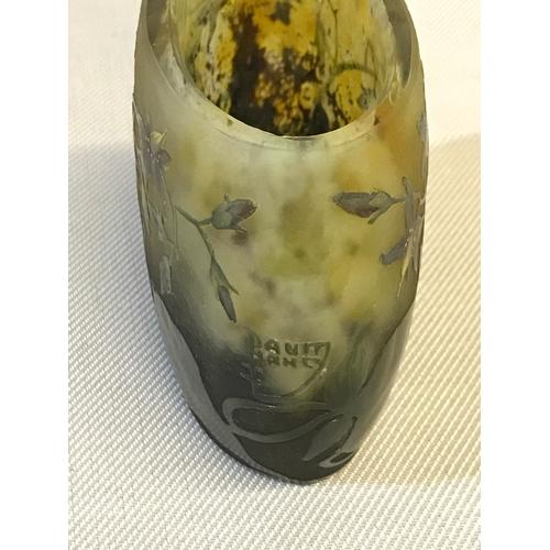 52 - Daum Nancy Lead crystal pillow vase is credited to Auguste & Antonin Daum. Possibly 1890's 1900's. m...