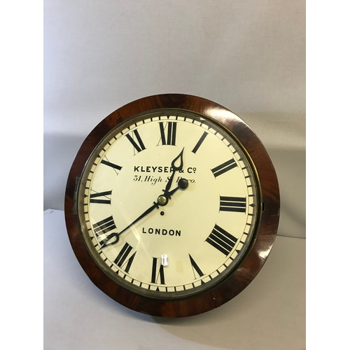100 - Large 1880's Rare wall clock, Has Fusee movement, comes with winder and pendulum. Hand painted face ...