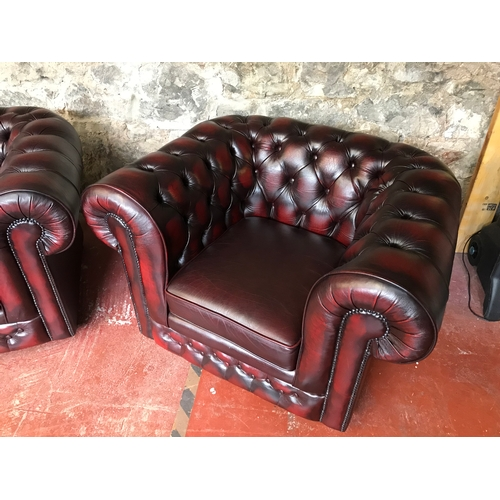150 - Thomas Llyod ox blood red chesterfield 2 seater & club chair. Really good condition....