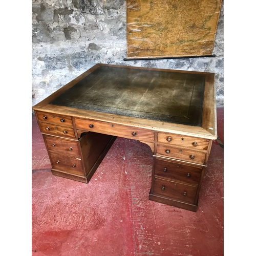230 - Early Victorian Circa 1820's partner desk with a worn olive green original leather to the top, suppo...