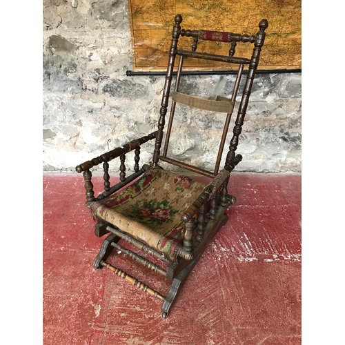 Fantastic Victorian American Rocking Chair Spindle Arm Sides Needs Beatyapartments Chair Design Images Beatyapartmentscom