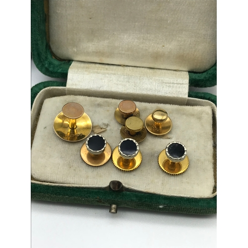 19 - A Lot of various 9ct, 18ct and yellow metal cuff links, together with yellow metal tie pins within a...