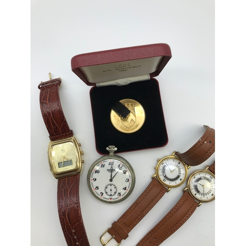 20B - A Lot of various watches to include Roberto Vecci & Sekonda USSR Train pocket watch, together with a...