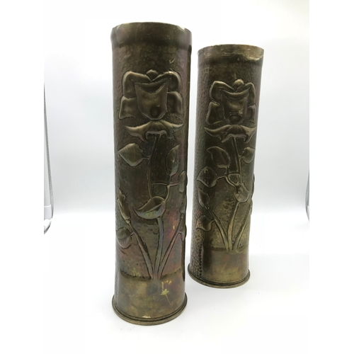 54 - A Pair of Trench art brass shells (United States army shell cases) Dug up in the Aisne battle area, ...