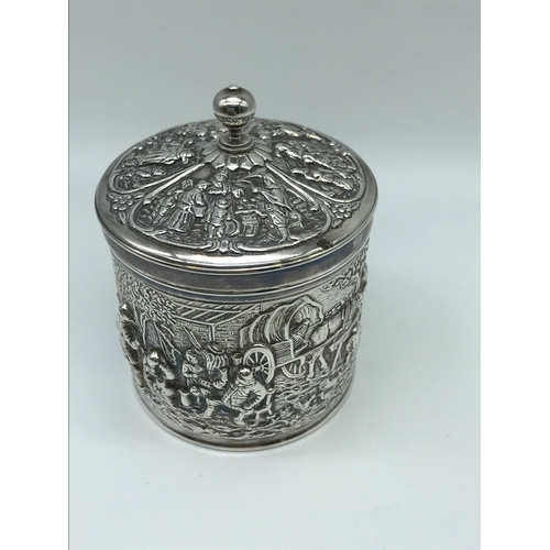 1 - Continental silver (possibly Dutch) ornate preserve pot with lid. Makers D.E...