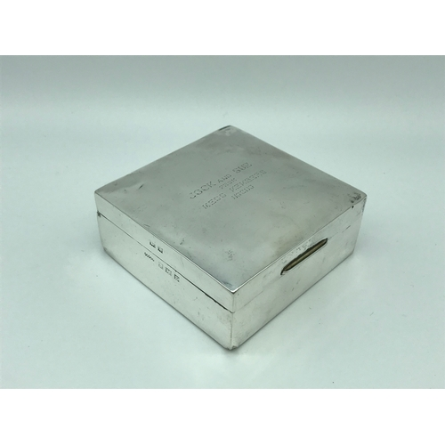 21 - Birmingham silver cigarette box. Makers Harmin Brothers. Dated 1959. Engraved to the top....