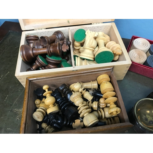 95 - A Lot of 2 Chess piece sets, Drafts set & black forest bear ashtray....